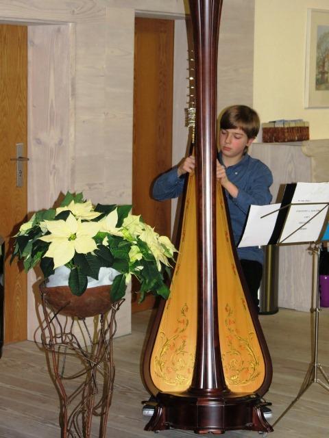 """Der dreizehnjährige Sandro Orloff, Bundespreisträger von """"Jugend musiziert"""" mit seiner Harfe"""