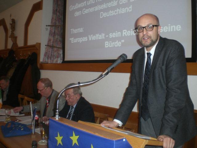 Generalsekretär Christian Moos bei der Jahreshauptversammlung 2015 des KV Hammelburg