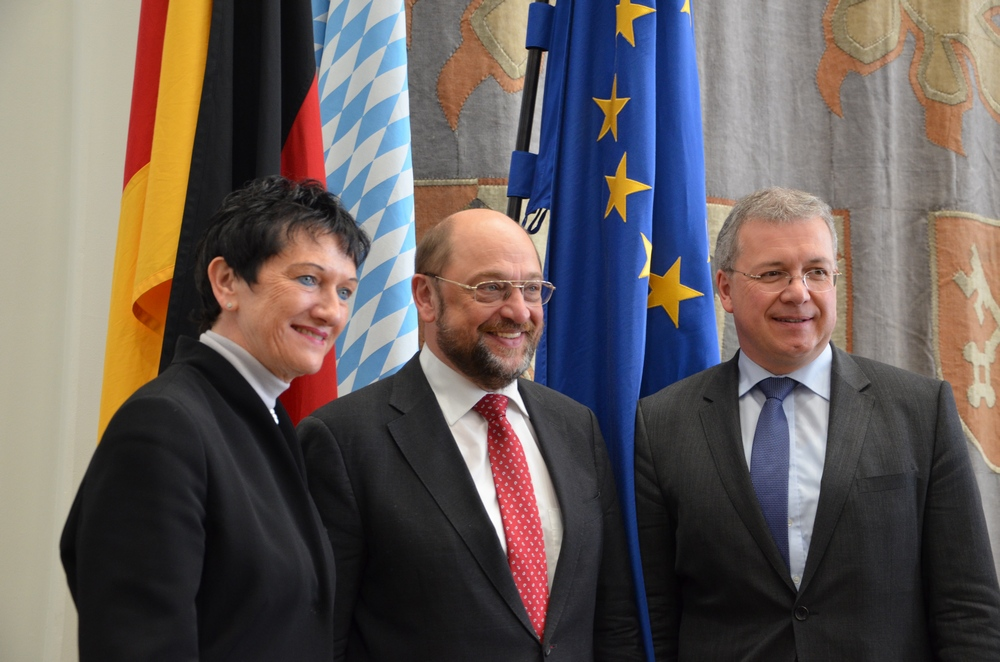 Inge Aures, Martin Schulz und Markus Ferber auf der Landesversammlung der Europa-Union Bayern im Bayerischen Landtag