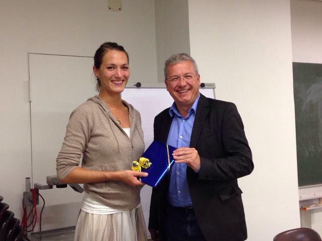 Die ehemalige Vorsitzende Milena Thaller zusammen mit dem Landesvorsitzenden Markus Ferber, MdEP; Quelle: Europa-Union Augsburg, Thorsten Frank